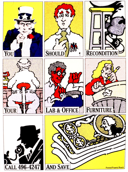 <p>The poster is divided into eight blocks, with each block having one word or phrase from the title.  The first block shows Uncle Sam pointing outward, the second a puzzled man pointing to himself, and the third shows the legs and saddle shoes of someone sitting on a stool.  In the next row, the fourth block shows the back of a man sitting in a chair at a desk, the fifth a Black man typing on a typewriter, and the sixth a woman with a pencil in her hand, dropping a crumpled paper into the wastebasket.  The last row shows a man speaking into a phone, and the last block a stack of bills.</p>