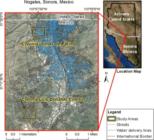 Location map of Nogales, Sonora—display access to piped water Nogales—outlining Fatima and Colosio study areas