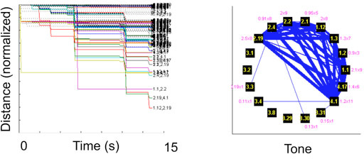 Distance plots (left) show the pairwise correlation (1 ms Gaussian kernel) for every pair of cells recorded on a 1 second basis for the duration of the tone presentation, each colored line shows the dynamic of the interaction between each pair; these results were then used to build the network topology (right) with each unit represented as a node (black square) and the edge strength (blue line thickness) representing the connection strength.