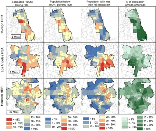 Regional Maps of ZIP Code-level Estimated Hemoglobin A1c Testing Rates Among Diabetic Medicare Beneficiaries, and General Population Demographic and Economic Characteristics.