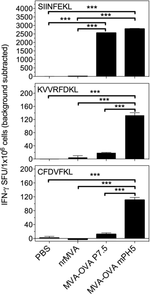IFN-γ-producing cells in mice vaccinated with MVA-OVA P7.5 and MVA-OVA mPH5. Splenocytes of immunized mice were re-stimulated in vitro for 16 h with peptides encompassing the dominant (SIINFEKL) and subdominants (KVVRFDKL and CFDVFKL) MHC class I restricted epitopes of OVA to determine the number of IFN-γ secreting CD8+ T cells. Results are presented as specific spot forming units (SFU)/1 × 106 cells. The SEM of quadruplicate values is indicated by vertical lines. The values reported are those obtained from stimulated cells with the background from non-stimulated cells being subtracted. The results were statistically significant at p < 0.001 (***).