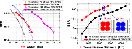The BER results.(a) The BTB BER results versus the OSNR for 75 and 125-GBaud all-optical PDM-QPSK signals comparing with theoretical curves; (b) The transmission BER results of 75 and 125-GBaud all-optical PDM-QPSK signals versus the transmission distance.