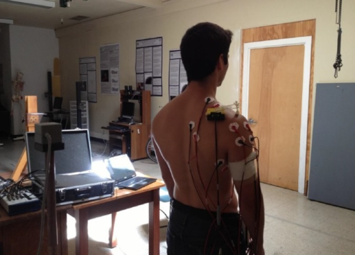 Experimental setup depicting electromagnetic scapular and humeral sensors.