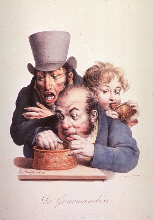 <p>Caricature of eating habits; two men and a child scrape and lick their dishes to get every last morsel.</p>