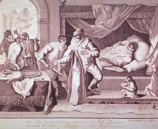 <p>Caricature:  Interior view of bedchamber; several monkeys prepare to administer a clyster to a monkey in bed; a monkey, upper left background, holds a urine flask.</p>
