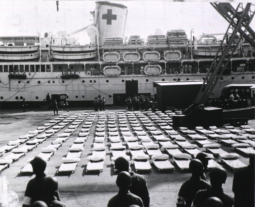 <p>U.S. Army Hospital Ship &quot;Acadia&quot; at dock ready to unload patients for Stark General Hospital.</p>