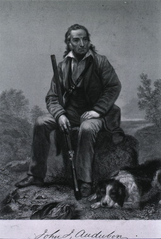 <p>Seated with dog.</p>