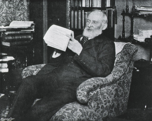 <p>Three-quarter length, seated in study, left pose; reading.</p>