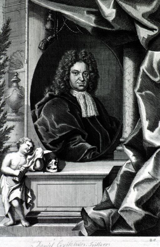 <p>Head and shoulders, right pose, in oval against elaborate background with curtain, urn, figure, skull, etc.</p>