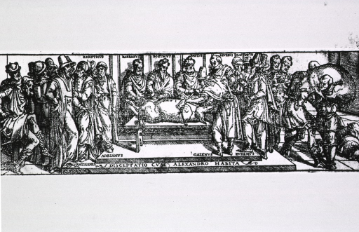 <p>Galen performs a surgical procedure on a pig tied to a table; several men (some identified by name) observe; on the right, a man carries another pig toward the operating area.</p>