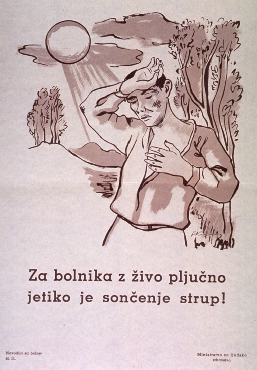 <p>Off-white poster with brown lettering.  Visual image is an illustration of a man standing outdoors beneath a bright sun.  He has one hand on his forehead and clutches his chest with the other, as if he is about to faint or be overcome.  Title below illustration states that too much sunlight is dangerous for those with pulmonary tuberculosis.  Series statement in lower left corner.  Publisher information in lower right corner.</p>