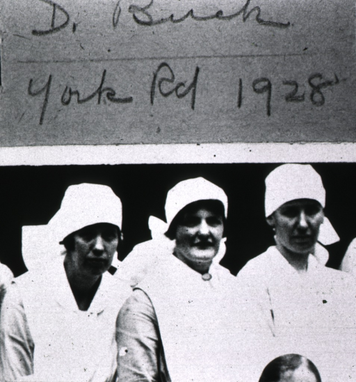 <p>Head and shoulders, wearing nursing uniforms.  Above the image, is the names of each of the women with the place and date when the photograph was taken.</p>