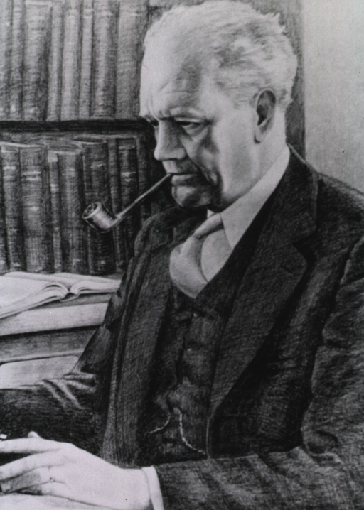 <p>Photograph of painting; seated, half-length, left pose; smoking pipe, bookshelves in the background.</p>