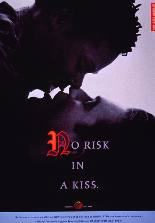 <p>The poster shows a photo reproduction of two people kissing, one an African American woman and the other a white man. Part of the print for the title is in color and a set of hearts and the remainder of the text appear at the bottom of the poster.</p>