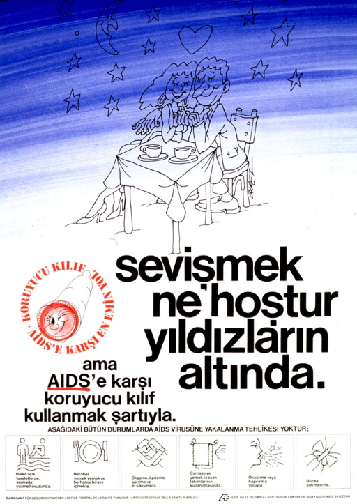 <p>Predominantly blue and white poster with black and red lettering.  Upper portion of poster features an illustration of a male-female couple sitting at a table and holding hands beneath a starry sky.  Title and note below illustration.  Text deals with having sex, but also using a condom to prevent AIDS.  Six illustrations near bottom of poster depict ways in which AIDS is not transmitted, such as swimming, sharing eating utensils, casual contact, sneezing, and insects.  Publisher information at bottom of poster.</p>