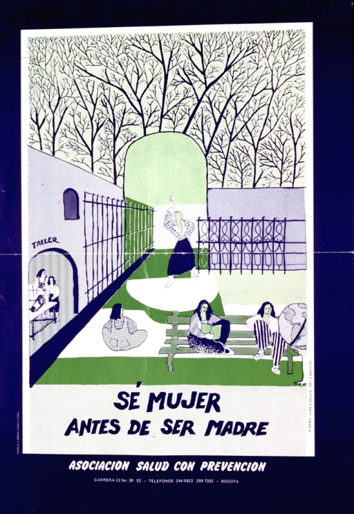 <p>Purple and green poster with purple and white lettering.  Poster dominated by illustration of women reading, relaxing, and dancing in a courtyard.  The courtyard is next to a workshop or factory where women appear to be working.  Title below illustration; publisher information below title.</p>