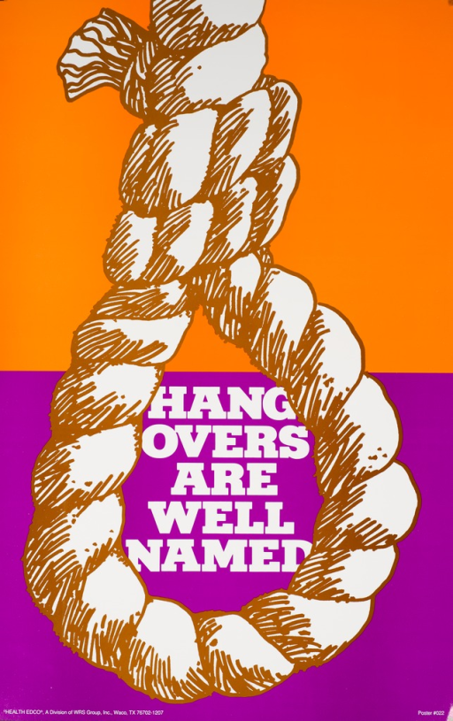 <p>Orange and purple poster with white lettering. Visual image is an illustration of a noose. Title appears in the opening of the noose. Publisher information is in the lower left corner.</p>