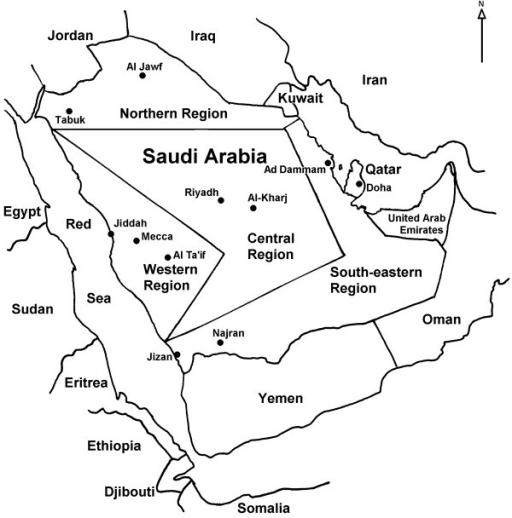 Map of the Arabian Peninsula showing the Saudi regions | Open-i