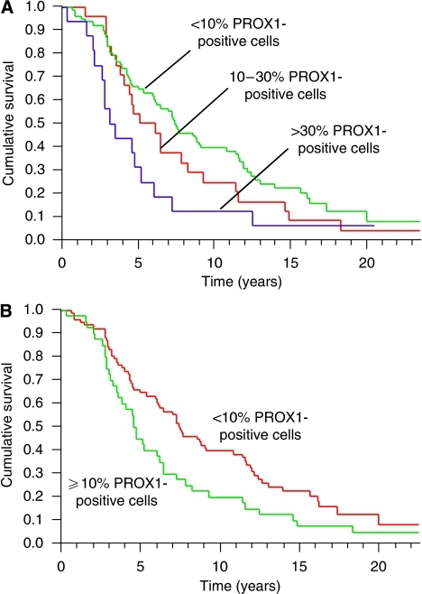 (A) Kaplan–Meier estimates of postoperative survival by the variable PROX1 protein expression for all samples with <10%, 10–30% and >30% immunopositive tumour cells. (B) Kaplan–Meier estimates of survival by the variable PROX1 protein expression after dichotomisation of PROX1 into <10% and ⩾10% immunopositive tumour cells (P=0.0183, log-rank test).