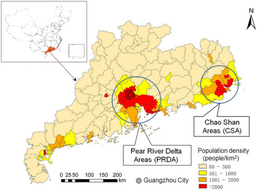 The Population Density At The County Level Guangdong Province China 2010