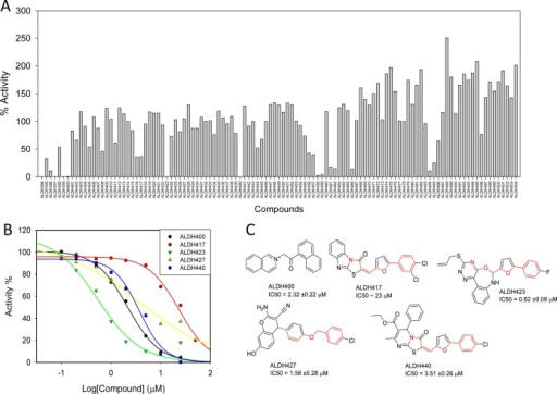 SVMSP rescoring of MD snapshots identifiesALDH2 inhibitors. Thedehydrogenase activity was screened by measuring the rate of increasein the fluorescence of NADH upon propionaldehyde oxidation. (A) Percentactivity of ALDH2 in the presence of 50 μM of each of the 111compounds that were tested; (B) concentration-dependent curves forfive compounds that inhibited in the initial screen; and (C) chemicalstructures for the five compounds (ALDH400, ALDH417, ALDH423, ALDH427,and ALDH440) along with their IC50s for inhibition of ALDH2 dehydrogenaseactivity.