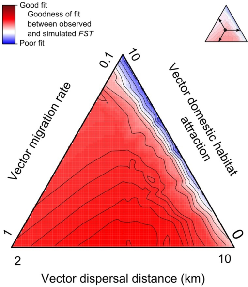 Goodness of fit between observed and simulated FST for T. brasiliensis in Northeastern Brazil.The red from blue color gradient represents an Akima interpolation of the least-square optimization between observed and simulated FST for different values of vector migration rate, dispersal distance and domestic habitat attraction. FST were computed using Arlequin over the 10 couples of sampled points. Sets of simulations were repeated 30 times for each value of migration rate (m index ranging from 0.1 to 1 by 0.1), dispersal distance (d ranging from 2 to 10 km by 2 km) and domestic habitat attraction (l index ranging from 0 to 10 by 2). The plot is represented using mean values with a gradient from blue (high value, i.e., poor fit), to red (low value, i.e., good fit).