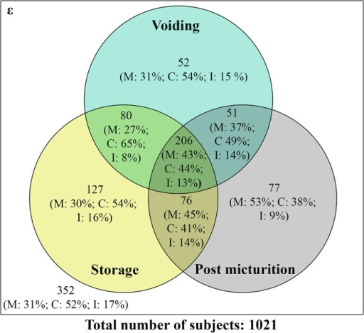 Profile of storage, voiding and post micturition symptoms amongst various ethnicities.Venn diagram showing the distribution of urological symptoms in Malay (M), Chinese (C) and Indian (I) participants.