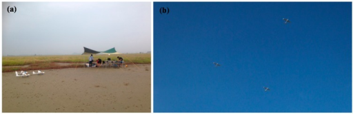 (a) Flight test setup; (b) Multiple UAVs in close triangular formation