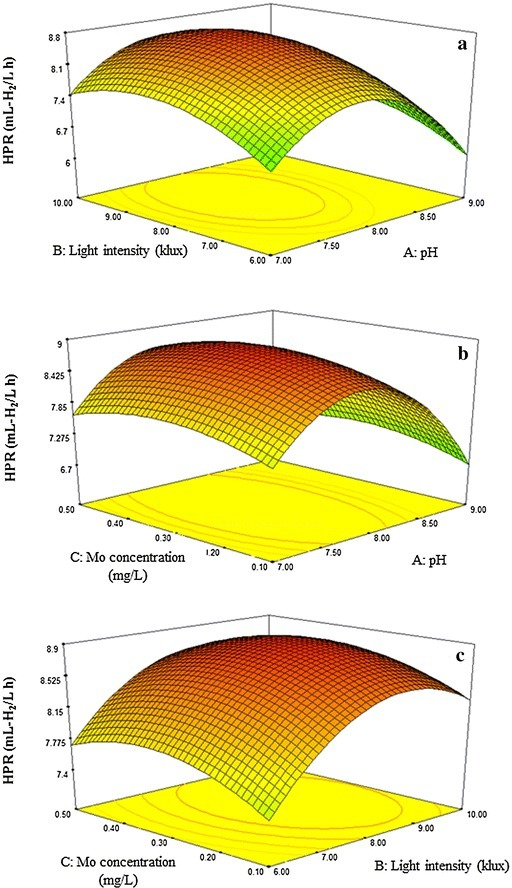 Response surface plots showing the effects of initial pH, light intensity, and Mo concentration on hydrogen production rate (HPR). The interactive effect of light intensity and pH at a fixed the amount of Mo concentration of 0.44 mg/L (a); the interactive effect of Mo concentration and pH at a fixed light intensity of 8.37 klux (b); the interactive effect of Mo concentration and light intensity at a fixed pH of 7.92 (c)