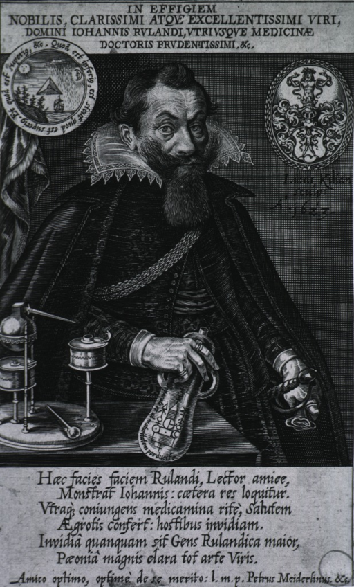 <p>Seated, right pose; showing instruments of the profession; coat-of-arms.</p>
