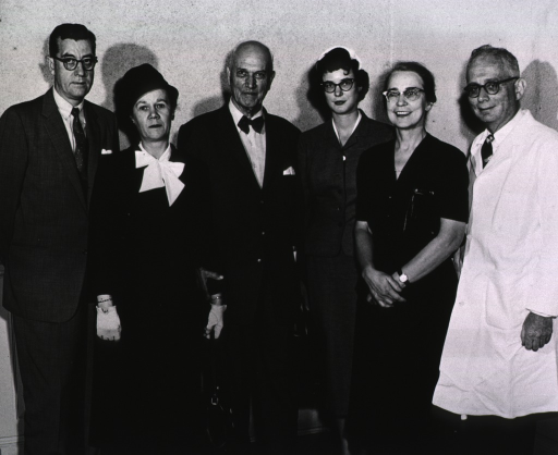 <p>Dr. Herbert M. Evans, after lecturing on the Life and Times of William Harvey, June 10, 1957, is shown with Dr. James A. Shannon, Mrs. Evans and their daughter Gail, Dr. Evelyn Anderson, and Dr. DeWitt Stetten, Jr.</p>