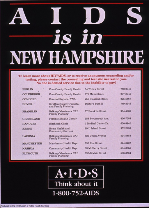 <p>Predominantly black poster with multicolor lettering.  Poster is all text.  Title at top; list of health centers offering information and testing below title.  Note and publisher information at bottom of poster.</p>