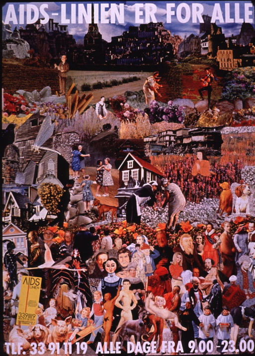 <p>Multicolor poster with white and black lettering.  Title at top of poster.  Visual image is a collage incorporating illustrations and photo reproductions depicting people of all ages in a variety of time periods and settings.  Hotline number and hours listed at bottom of poster.</p>