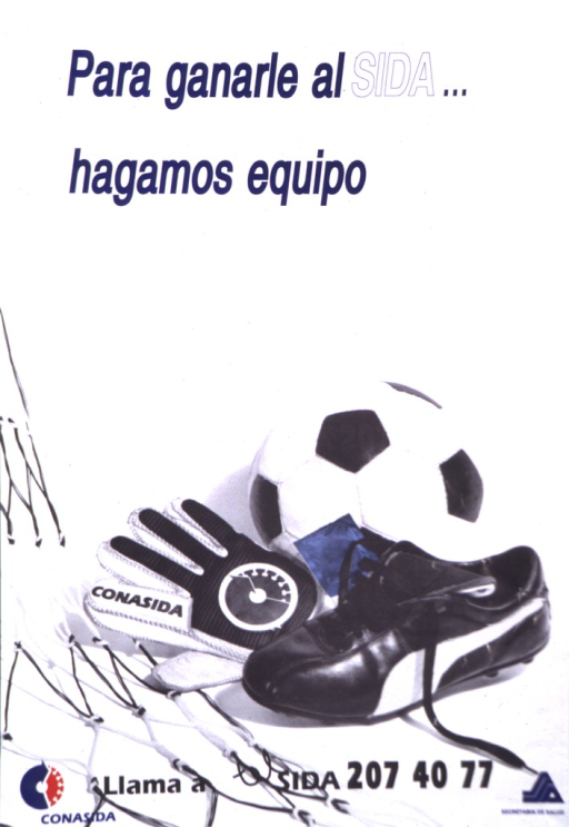 <p>A condom is in the middle of a soccer ball, a shoe, and a glove illustrating equipment that wins against AIDS.</p>
