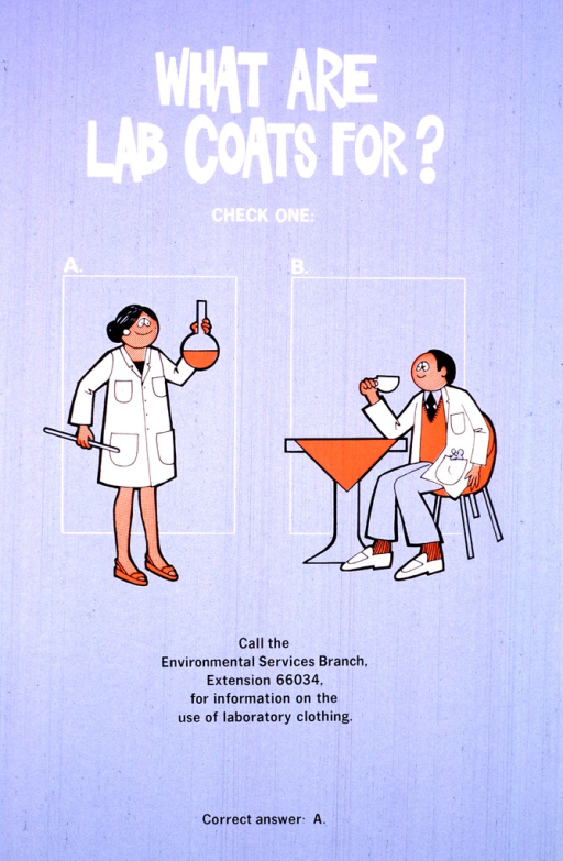 <p>There are two blocks labeled A and B.  In the A block, a woman is wearing a lab coat, holding a filled flask and a glass rod.  In the B block, a man is sitting at a table, sipping from a teacup, while a mouse peeks out from the pocket of his lab coat.</p>