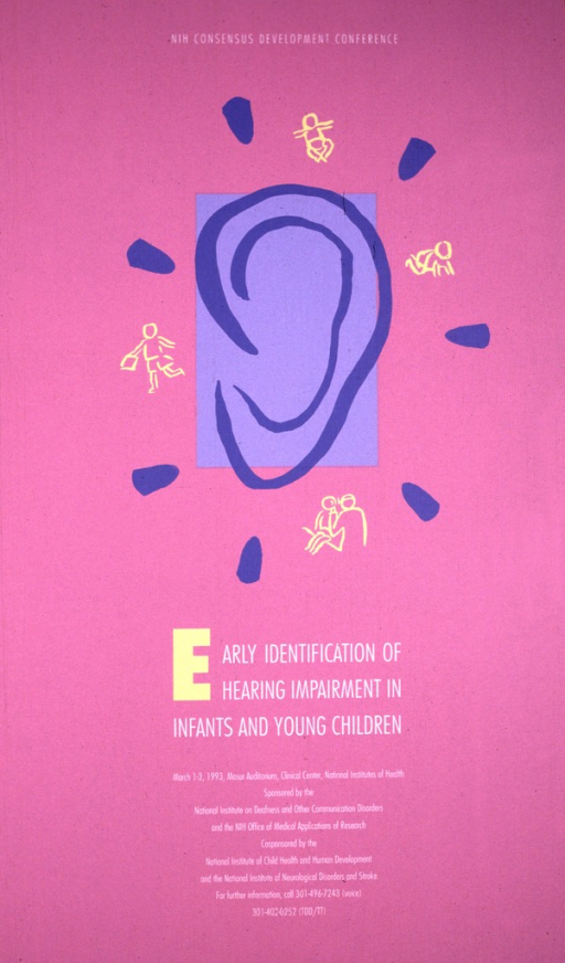 <p>Pink poster with a diagram of the outer ear in the upper half of the poster, the outline of the ear in a medium blue on top of a light blue background.  Around the diagram of the ear are yellow sketches of an infant, a child playing, a child being examined by a physician, and a child in mid-stride with a book in his hand.  A phone number is listed for further information.</p>