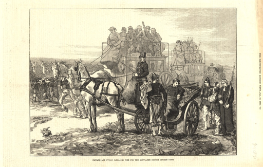 <p>Wounded soldiers are shown either aboard carriages or walking or being transported in litters.</p>
