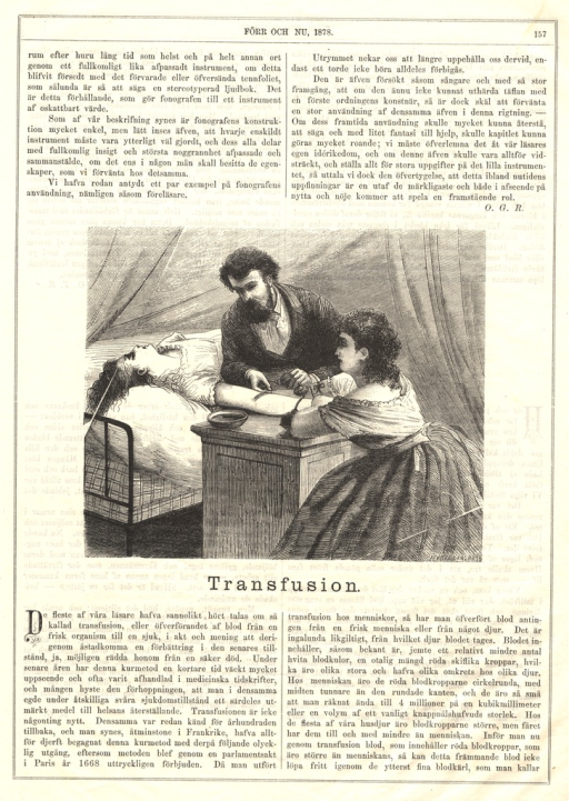 <p>A woman lies unconscious in bed while a man inserts an apparatus into her outstretched arm.  Another woman sits and watches closely.</p>
