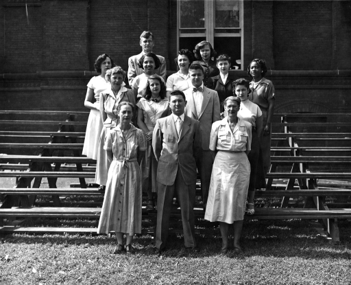 <p>Army Medical Library Current List Section. Front Row: Gertrude M. Butler, Seymour I. Taine, Regina K. Plavsky. 2nd Row: Frances E. Kelsey, Barbara F. Bytniewska, Constantine J. Gillespie, Bertha A. O'Connell. 3rd Row: Theresea T. Abbott, Bertha J. Cameron, Pauline C. Vivette, Thelma G. Charen, Thelma Anders. 4th Row: Stanley Jablonski, Catherine E. Hagler.</p>