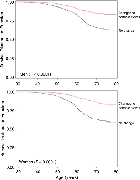 Product-limit survival curves for probability of lung cancer mortality for those who changed to a portable stove compared with those with no change.