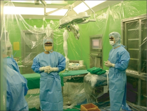 For the anesthetic and surgical management of the patients suspected of Creutzfeldt-Jakob disease, the operating room is cleared of unnecessary equipment and the wall of operating room is covered with vinyl chloride monomers. All the staff entering the operation wear liquid-repellent gown, face masks with plastic transparent shield visor, and double gloves.