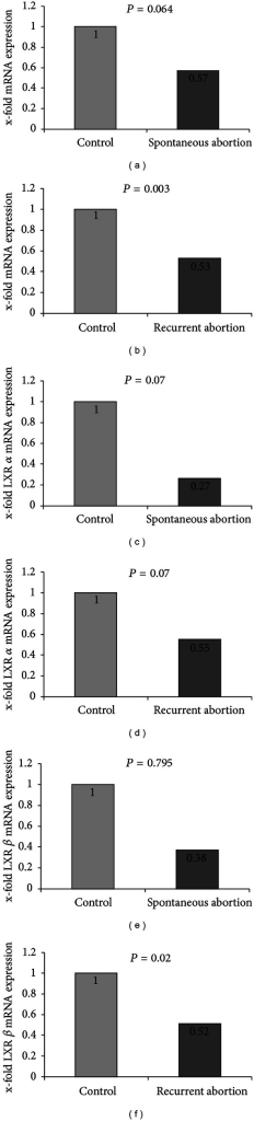 Quantification of mRNA expression of LXR A and B in placentas of spontaneous miscarriages and recurrent miscarriage. (a) We identified a nonsignificant downregulation of LXR mRNA expression in spontaneous abortion placentas compared to normal controls (57%, P = 0.064). (b) In recurrent abortion we identified a downregulation of LXR mRNA expression to 53% compared to control placentas. (c) LXR A was downregulated to 27% (P = 0.07) and (e) LXR B was downregulated to 38% (P = 0.795). (d) LXR A was downregulated to 55% (P = 0.07) and (f) LXR B was downregulated to 52% (P = 0.02). Mann-Whitney-U test was used for evaluation of two independent groups.