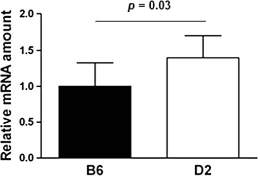 Relative mRNA expression of 20 weeks old males on high fat diet. Relative mRNA expression level of Rsad2 from epididymal adipose tissue. Different BXD RI strains carrying either the C57BL/6J (B6) or DBA/2J (D2) allele at the position of the target gene were chosen randomly from the BXD recombinant inbred strains (one animal per strain) for gene expression analyses. Bar graphs with different letters are significantly different to a level of significance of p = 0.03; n = 6–8. Statistics were performed using the two-tailed Student's t-test and bar graphs are mean values plus SD.