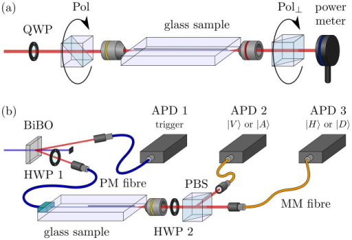 Characterisation setups.(a) Classical characterisation of an arbitrary wave plate operation. The relative output of crossed polarisers gives information on the birefringence of the embedded waveguide. (b) Setting for the characterisation of the integrated quantum gates using single photons. One photon of a pair heralds the other one, which is in this case feed to the corresponding quantum gate via a butt-coupled fibre. The HWP 2 determines the measurement basis to be /H〉 and /V〉 or /D〉 and /A〉.
