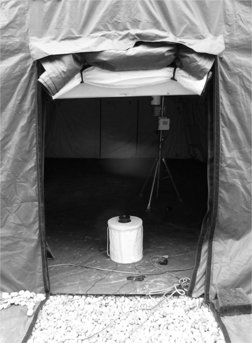Semi-field set-up showing the tent inside the outdoor cage, BGS trap and FFS.