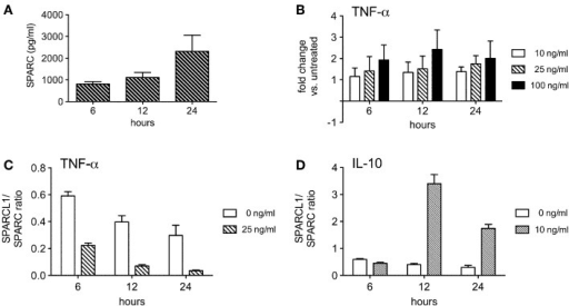 Some T cell-derived cytokines regulate astrocyte production of SPARC in vitro. (A) Astrocytes spontaneously secrete measurable amounts of SPARC into culture supernatants (n = 4 experimental replicates per time point). (B) TNF-α modestly induces astrocyte SPARC production (n = 3 experimental replicates per time point). (C) TNF-α suppresses the ratio of SPARCL1 to SPARC made by astrocytes over time, p < 0.0001 comparing ratio differences, p = 0.0002 comparing changes over time. (D) IL-10 augments the ratio of SPARCL1 to SPARC made by astrocytes over time, p < 0.0001 comparing ratio differences, p < 0.0001 comparing changes over time.