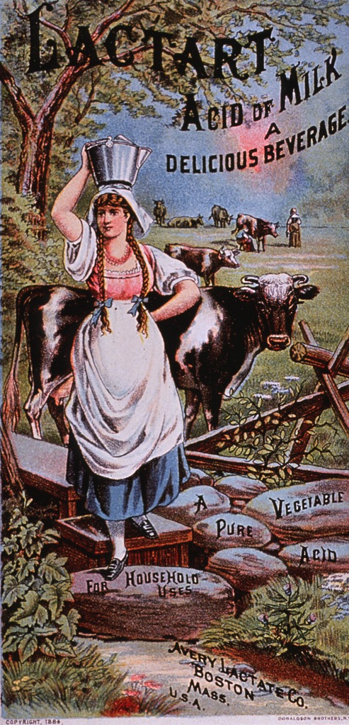 <p>Lactart may be used as a beverage or a remedy; it claims to be entirely of vegetable matter and &quot;is absolutely harmless.&quot;  Visual motif:  Country scene showing a woman carrying a bucket of milk on her head; cows being milked in the background.</p>