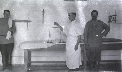 <p>Three staff personnel in the dispensary at Military Hospital No. 16.</p>