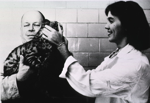 <p>Woman veterinarian examines cat held by assistant.</p>