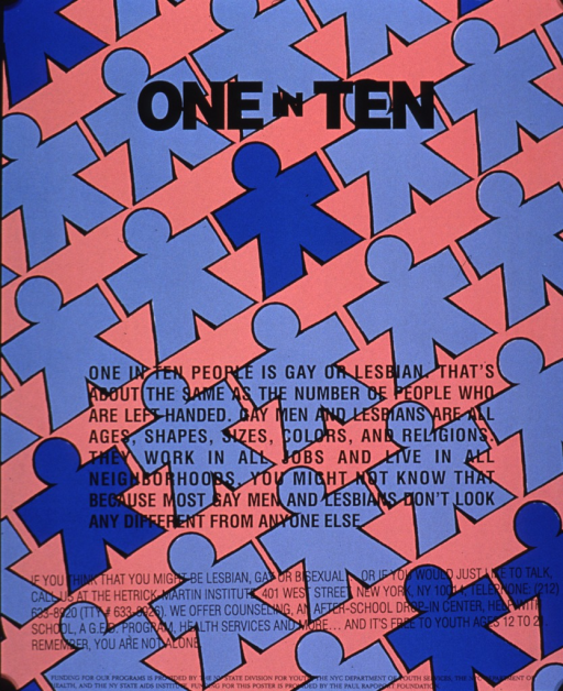 <p>Peach and blue poster with black lettering.  Title near top of poster.  Visual image is a series of abstract human figures that form diagonal lines across the poster.  Some figures are darker in color than the others.  Note text about the prevalence of gays and lesbians in society and information about the publishing agency's services below title.  Sponsor information at bottom of poster.</p>